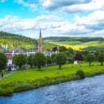The Riverbank Town of Peebles, Scotland