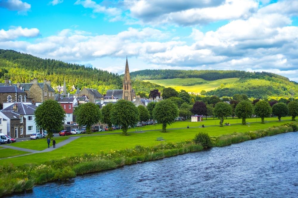 The Riverbank Town of Peebles, Scotland